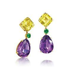Lemon quartz, tsavorite garnet, amethyst and gold I Love Jewelry, High Jewelry, Jewelry Design, Amethyst Jewelry, Gemstone Earrings, Schmuck Design, Violet, Beautiful Earrings, Jewelry Collection