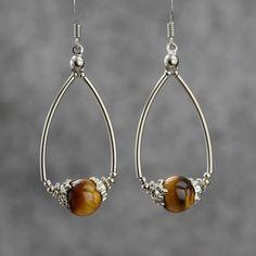 tiger eye dangleing hoop earrings Bridesmaids by AnniDesignsllc