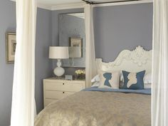 Romantic - Accessorize by Design Style on HGTVlove the color and the sillouette pillows idea for couple.