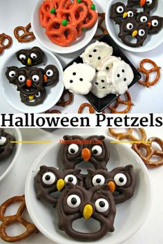 Halloween Pretzels- easy, fast and fun tutorial for 5 chocolate dipped treats! These cute Halloween treats can be created in no time and are guaranteed to spread smiles. snacks cuties Halloween Pretzels- easy, fast and fun! - The Monday Box Halloween Food For Party, Halloween Cupcakes, Halloween Dessert Recipes, Easy Halloween Treats, Spooky Treats, Spooky Halloween, Halloween Crafts, Halloween Recipe, Halloween Treats