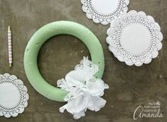 Learn how to make a simple doily wreath. Customize this paper wreath with different bows or decorations, and watch your wreath last all year long. Paper Doily Crafts, Doilies Crafts, Paper Doilies, Easy Paper Crafts, Diy And Crafts, Fall Crafts, Paper Crafting, Fun Valentines Day Ideas, Valentine Day Wreaths