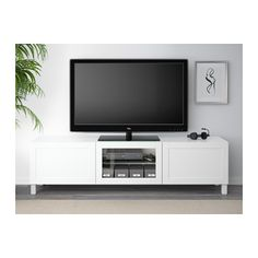 BESTÅ TV unit with drawers and door - Hanviken white clear glass, drawer runner, soft-closing - IKEA