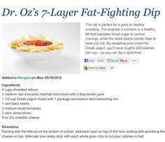 Dr. Oz Diet 7 Layer Dip.
