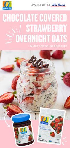 Overnight oats are the perfect breakfast to take on-the-go to work or school. This is inspired by decadent chocolate strawberries and packed with fruity flavor. Delicious and easy, the O…More Oats Recipes, Cereal Recipes, Healthy Recipes, Healthy Drinks, Healthy Foods, Organic Chocolate, Decadent Chocolate, Dip For Beer Bread, Breakfast