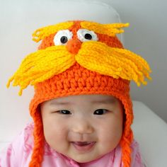 Lorax Hat, The Lorax, Inspired from Dr. Seuss, Crochet Baby Hat, Baby Hat, Animal Hat, photo prop, orange. $28.99, via Etsy.