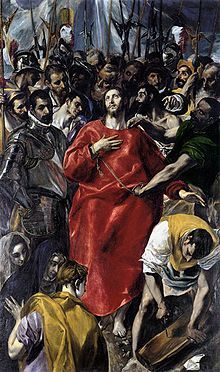The Disrobing of Christ (El Espolio), 1577-1579, oil on canvas,this is one of the most famous altarpieces of El Greco. All of El Grecco's altarpieces are renowned for their dynamic compositions and startling innovations.