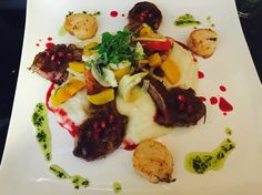 Rosemary seared Lamb, Butter & thyme seared scallops w/ cranberry red wine gastrique, sun choke & potato purée, beet, pickled fennel, tomato salad