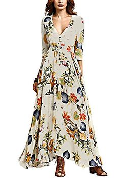 f24828bfa8 Engood Womens Sexy Deep V-neck Bohemian Half Sleeves Floral Printed Maxi  Long Beach Holiday