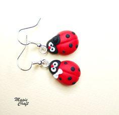 Ladybird Ladybug Earrings Handmade in Polymer Clay by MagieCraft