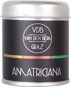 "Van den Berg ""Amatricciana"" Spice Blend Pasta All Amatriciana, Spice Blends, Coffee Cans, Den, Spices, Food, Spice Mixes, Spice, Eten"