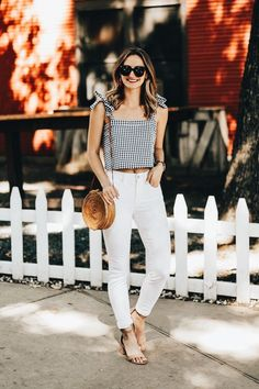 White jeans with cute black and white gingham top.