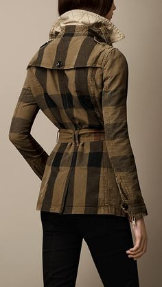 Short Cotton Linen Check Trench Coat | Burberry