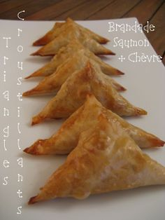 Triangles croustillants brandade, saumon & chèvre