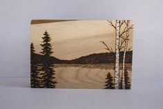 At the Lake - Woodland Nature Art - Original Woodburning on Salvaged Wood