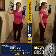 #progresspics!  OK, I gained a few pounds back over the weekend,  so I'm going to be better about keeping track of my food this week!   I did the Chisel Total Body workout this morning,  then had a busy morning at work and just finished my Shakeology for breakfast :)