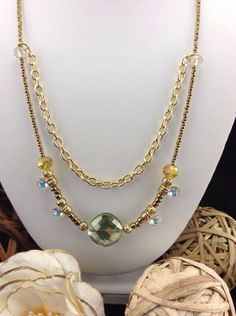 Divinity Swarovski and Gold Filigree Multi Layer Chain Necklace via Etsy LoveLeaPiecesbyMe