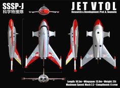"""The Science Patrol's Jet VTOL. This was re-designed, for  its use in the original """"Ultra Man,"""" from ships used in """"Gorath."""""""