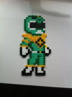 Green power ranger - perler beads by Rest-In-Pixels on DeviantArt Fuse Bead Patterns, Perler Patterns, Beading Patterns, Easy Perler Beads Ideas, Arte 8 Bits, Beading For Kids, Twin Beads, 8bit Art, Perler Bead Templates