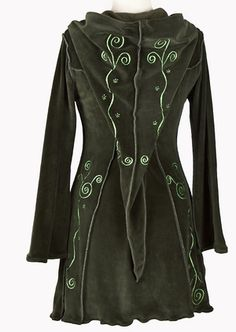 Coats Pagan Wicca Witch:  Embroidered Pixie #Coat - Gothic, romantic, steampunk clothing from The Dark Angel.