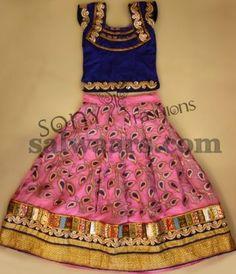 Peach Color Silk Kids Lehenga - Indian Dresses