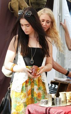Lily Collins browsing the flea markets of LA like an effin babe // check out our LA Finds Collection at effinshop.com!