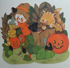 vintage fall autumn hallmark halloween scarecrow cat crow die cuts - Hallmark Halloween Decorations