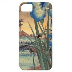 Japanese vintage ukiyo-e blue iris and bird scene iPhone 5 cases by TheGreatestTattooArt #iPhone5 #iphone #smartphone #case #cover #japan #japanese #phonecases #oriental #gift #customizable