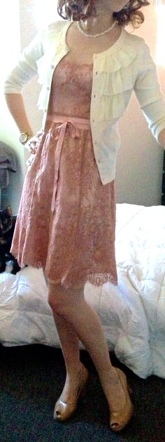 Easter outfit! Dainty lace and ruffles.