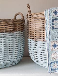 Add a little color to upcycled, thrifted baskets for handy and decorative bedroom storage containers.
