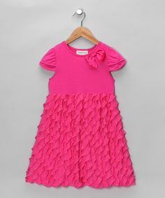 Take a look at this Pink & Fuchsia Bow Ruffle Dress - Girls by Rare Editions on today! Sewing Ruffles, Ruffle Fabric, Ruffle Dress, Sewing Kids Clothes, Sewing For Kids, Cap Sleeves, Sewing Crafts, That Look, Short Sleeve Dresses