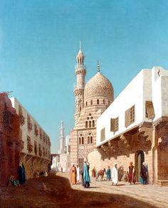 Busy road in Cairo & Complex of Amir Aqsunqur By Louis Emile Pinel de Grandchamp (French, 1831-1894) 35.50 cm X 27.00 cm