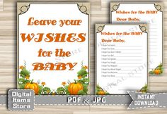 Wishes For The Baby Printable Pumpkin  Wishes by DigitalitemsShop