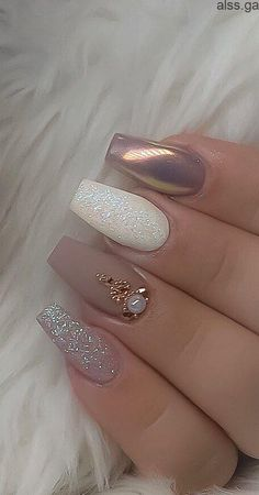 55 The Most Wonderful And Convenient Coffin Nail Designs 2019 - Page 42 of 56 Acrylic Nails Best Acrylic Nails, Acrylic Nail Designs, Nail Art Designs, Fancy Nails Designs, Design Ideas, Wedding Nails Design, Simple Wedding Nails, Nail Wedding, Long Nails