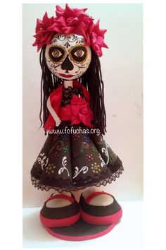"""I made this Fofucha Doll  in celebration of """"El Dia De Los Muertos""""Day of the Dead. She is 100% handmade. She can be an awesome Halloween decor. She is 13 inches tall. Made using foam sheets. Available for purchase at fofuchas.org or visit me at facebook.com/fofuchashandmadedolls #foamdoll #dayofthedead #halloween #fofuchas"""
