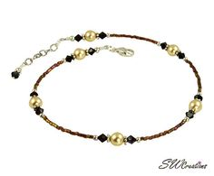 Beautiful, handmade, adjustable _ - 11 inch garnet gold pearl beaded anklet created with golden brown luster seed beads, garnet Swarovski Austrian crystals, gold Swarovski crystal-b Beaded Anklets, Beaded Jewelry, Handmade Jewelry, Beaded Bracelets, Diy Jewelry, Necklaces, Garnet And Gold, Swarovski Pearls, Gold Pearl