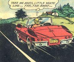 """Comic Girls Say... """"Take me away, little white line...far, far away..""""   #vintage #comic #popart"""