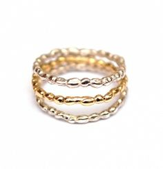 Pearly silver and gold ring