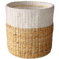 White & Natural Woven Basket -  - Threshold ($21) ❤ liked on Polyvore featuring home, home decor, small item storage, weave storage baskets, white home decor, weave basket, country home decor and woven basket