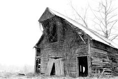 Old Abandoned Barn Black & White Art Photography