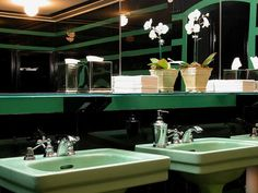 Art Deco Bathrooms with Mint-green sinks #lifeinstyle #greenwithenvy