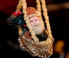 VERY OLD ANTIQUE SANTA IN BOAT CLAY FACE FEATHER TREE ACCENT CHRISTMAS TREE ORNY