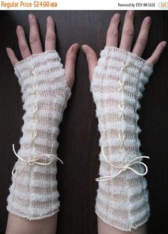 Fingerless Gloves lace Wrist Warmers white Long by Initasworks