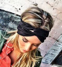 Etsy - Three Bird Nest - Black Stretchy Jersey Twisted Workout Headband - Turban Wide Hippie Boho Headband head bands Hair Coverings