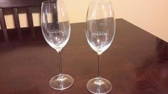 "2 POMMERY Champagne  Flute Glasses 8.5"" Clear Etched Logo 10cl BAREWARE - http://collectibles.goshoppins.com/barware/2-pommery-champagne-flute-glasses-8-5-clear-etched-logo-10cl-bareware/"