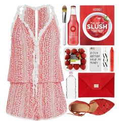"""""""Strawberry Slushie"""" by ladyvalkyrie ❤ liked on Polyvore featuring Poupette St Barth, Zoku, Obsessive Compulsive Cosmetics, Color Wow, tarte and Jimmy Choo"""