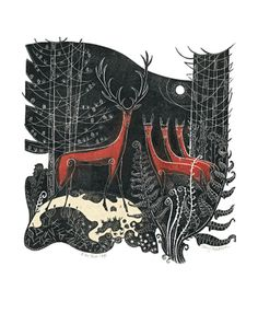 At the Forest Edge linocut by Penny Bhadresa