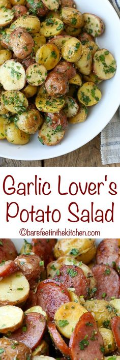 Garlic Lover's Potato Salad - get the recipe at barefeetinthekitchen.com #simplesolutions #ad