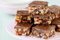Florentine Slice Recipe cut into very small squares as petits fours Fudge, Shortbread, Biscotti, Sweet Recipes, Cake Recipes, Peppermint Slice, No Bake Slices, Cake Slices, Florentines Recipe