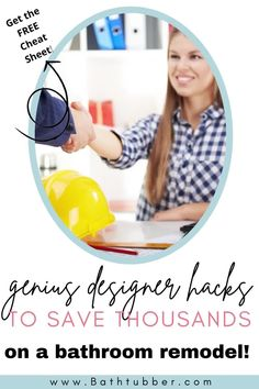 """Save thousands of dollars with these bathroom designer hacks. Get the """"8 Genius Designer Hacks"""" Cheat Sheet now! Bathroom remodel on a budget. Bathroom remodel on a budget diy. Bathroom remodel on a budget small. Bathroom remodel on a budget master. Bathroom renovations on a budget. #Bathroomremodelonabudget #Bathroomremodelonabudgetdiy #Bathroomremodelonabudgetsmall #Bathroomremodelonabudgetmaster #Bathroomremonvationsonabudget Small Bathroom Ideas On A Budget, Budget Bathroom, Diy On A Budget, Small Bathroom Tiles, Spa Like Bathroom, Master Bathroom, Bathtub Remodel, Diy Bathroom Remodel, Bathroom Renovations"""