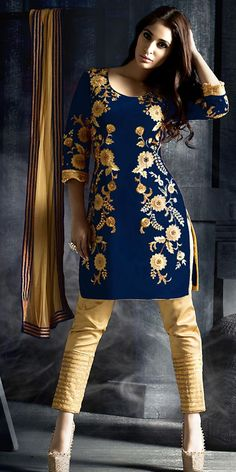 Royal Navy Blue Silk Straight Suit With Dupatta.